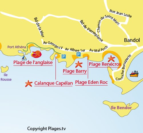 Map of the Anglaise Beach in Bandol