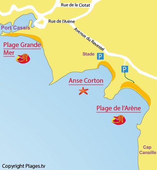 Carte de la plage de l'Arène à Cassis