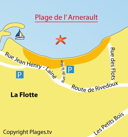 Map of Arnérault Beach in La Flotte