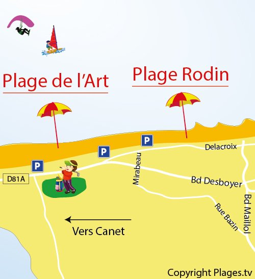 Map of Arts Beach in St Cyprien in France