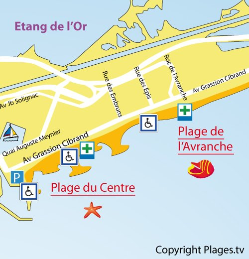 Map of Avranche Beach in Carnon Mauguio
