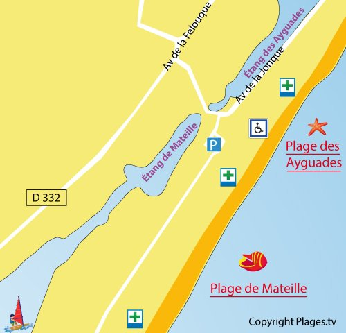 Map of Ayguades Beach in Gruissan