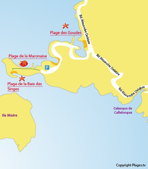 Map of Baie des Singes Beach in Marseille