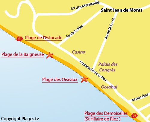 Map of Baigneuse Beach in St Jean de Monts
