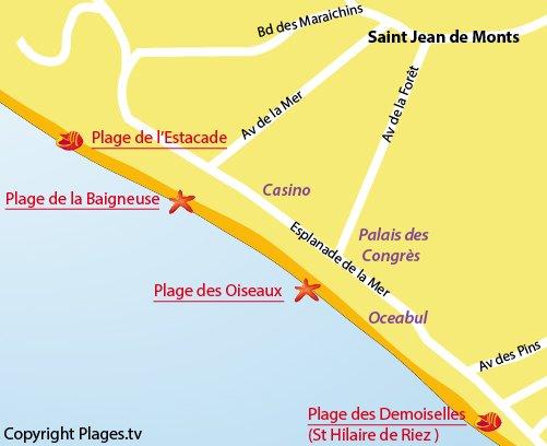 Plan de la plage de la Baigneuse à St Jean de Monts