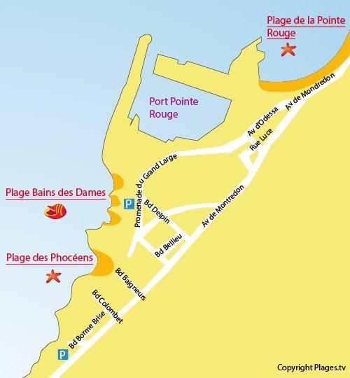 Map of Bain des Dames Beach in Marseille