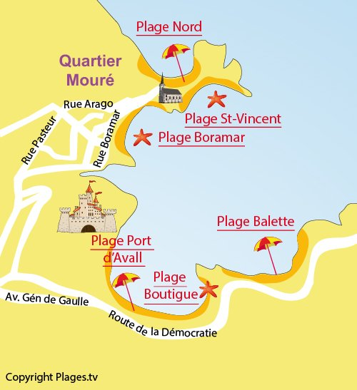 Map of Balette Beach in Collioure