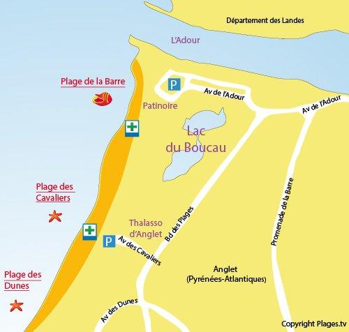 Carte de la plage de la Barre à Anglet