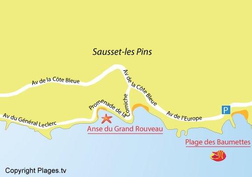 Plan de la plage des Baumettes à Sausset les Pins