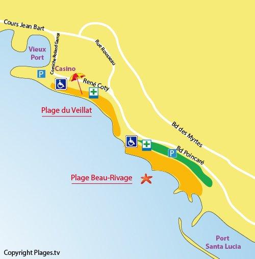 Mappa della Spiaggia Beau-Rivage a Saint Raphaël