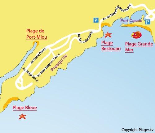 Carte de la plage du Bestouan à Cassis proche de la calanque Port Miou