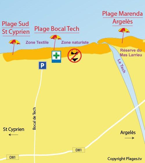 Plan de la plage du Bocal de Tech à Elne