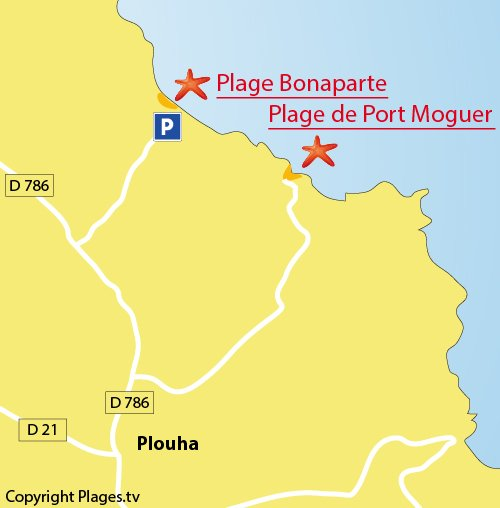 Plan de la plage Bonaparte à Plouha