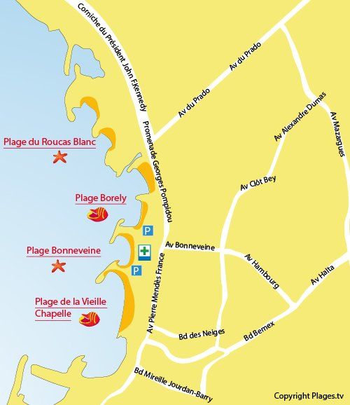 Map of Bonneveine Beach in Marseille