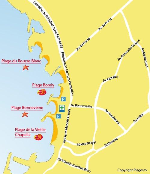Carte de la plage de Bonneveine de Marseille