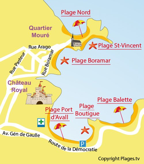 Map of Boramar Beach in Collioure
