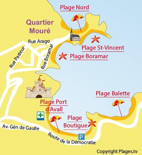 Plan de la plage Boutigue à Collioure