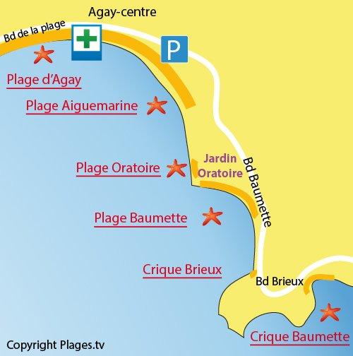 Plan de la plage Brieux à Agay