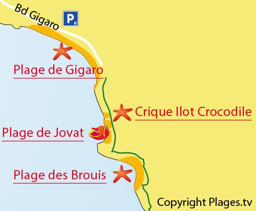 Map of the Brouis Beach in La Croix Valmer
