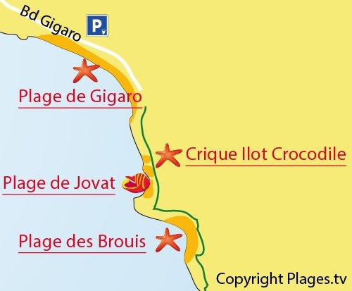 Plan de la plage des Brouis à La Croix Valmer