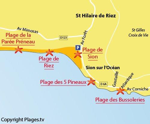 Map of Bussoleries Beach in St Hilaire de Riez