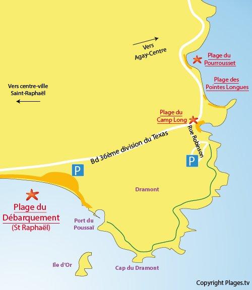 Carte de la plage du Camp Long à Agay St Raphaël