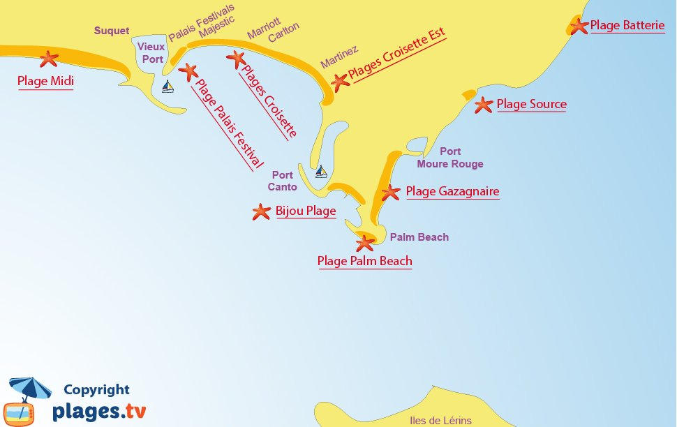 Map of Cannes beaches - French Riviera