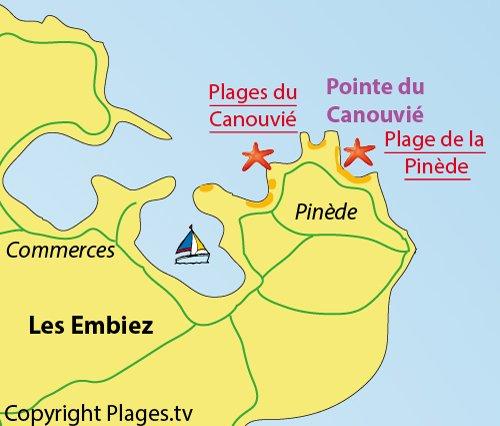 Carte de la plage du Canouvié sur l'ile des Embiez