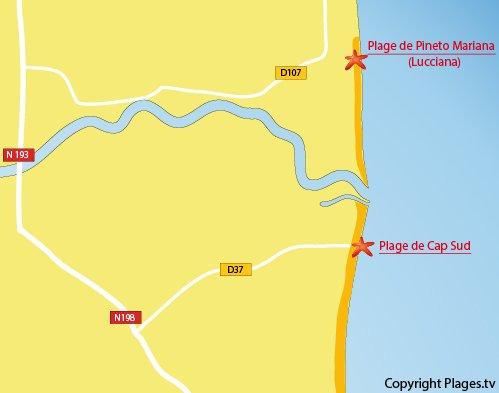 Carte de la plage du Cap Sud en Corse