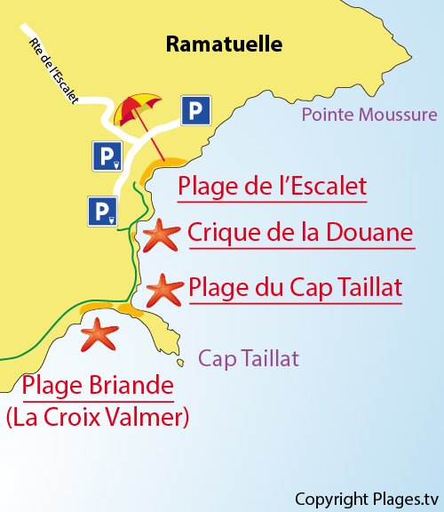 Map of Cape Taillat Beach in Ramatuelle - France