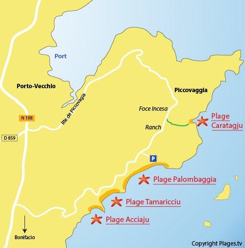 Mappa spiaggia di Carataggio Porto Vecchio - Corsica