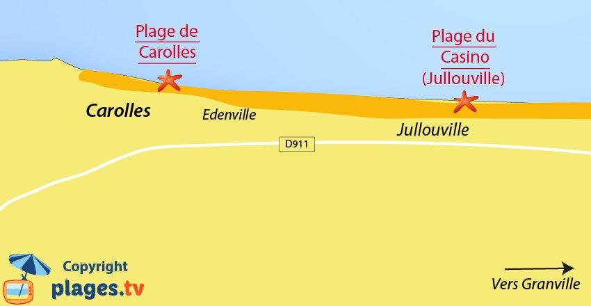 Plan de la plage de Carolles dans la Manche