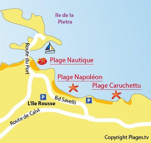 Plan de la plage de Caruchettu à l'île Rousse