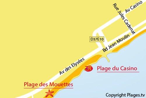 Plan d'accès à la plage du casino à Valras