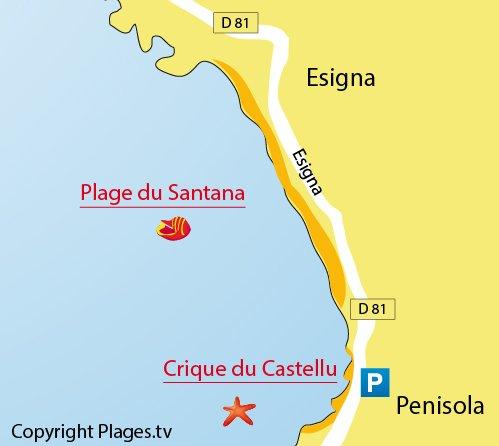 Map of Castellu Beach (Penisola) - Sagone