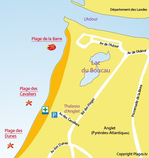 Map of Cavaliers Beach in Anglet