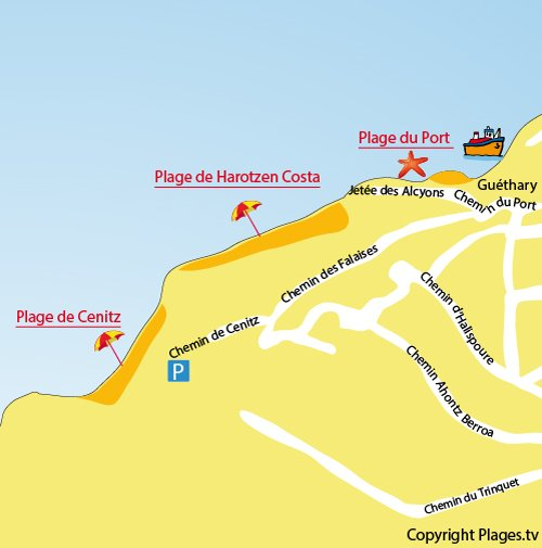 Map of Cenitz Beach in Ghéthary and St Jean de Luz