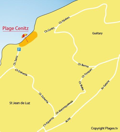 Map of Centiz Beach in Saint Jean de Luz
