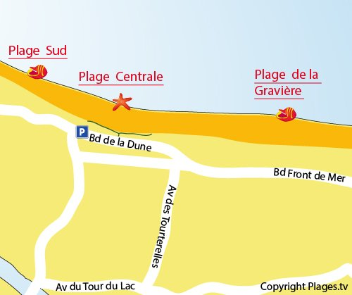 Map of Central beach in Hossegor