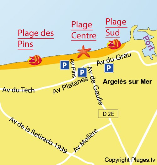 Map of Main Beach in Argelès sur Mer