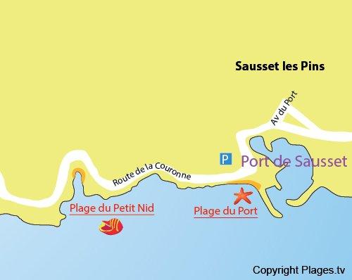 Plan de la plage du centre de Sausset les Pins