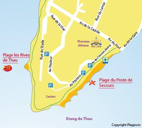 Plan de la plage du centre ville de Balaruc les Bains