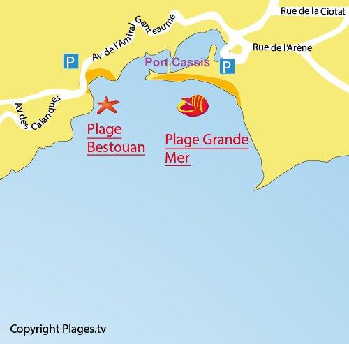 Carte de la plage du centre ville de Cassis