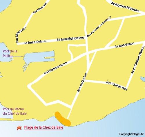 Carte de la plage du chef de Baie à La Rochelle