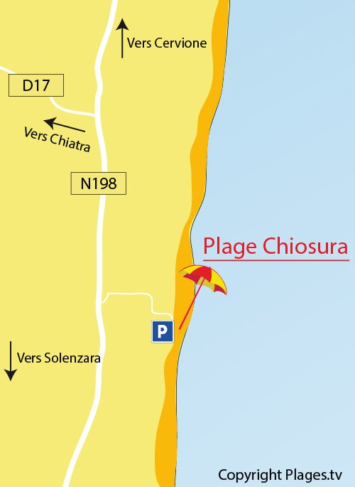 Map of Chiosura beach in Linguizzetta in Corsica