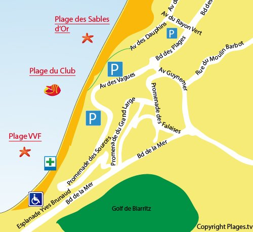 Map of Club Beach in Anglet