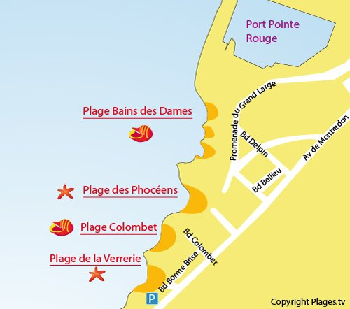 Map of Colombet Beach in Marseille