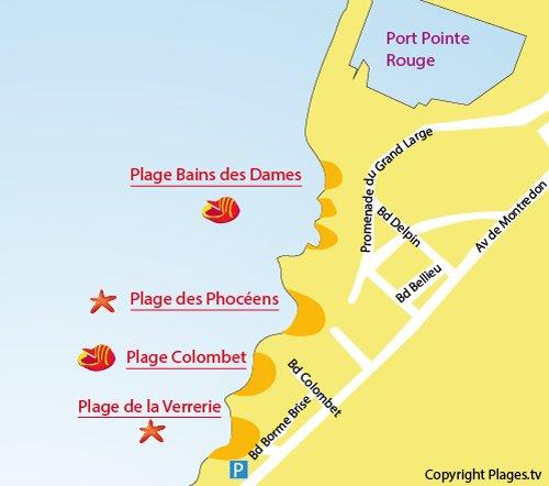 Mappa della Spiaggia Colombet a Marsiglia