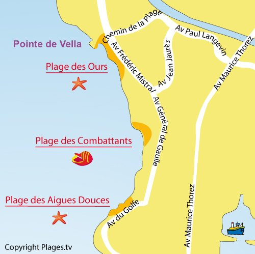 Map of Combattants Beach in Port de Bouc