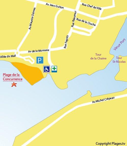 Carte de la plage de la Concurrence à La Rochelle